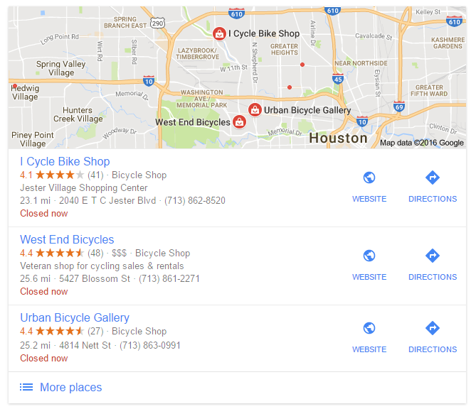 Google Local Search Listings